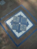 Coat of arms tiles in the walkway of the gardens: alcázar, Sevilla