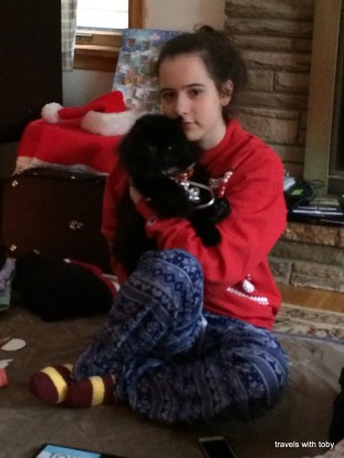 Christmas cat and child