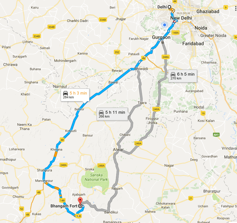 Route from Delhi to Haunted Fort Bhangarh