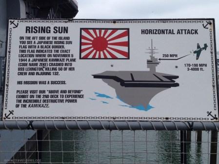 USS Lexington sign for island