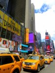 Yellow cabs in Times Square NYC