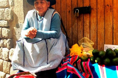 Peru woman selling produce