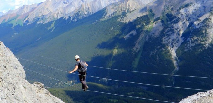 3 wire suspension bridge Mt Norquay Banff Via Ferrata