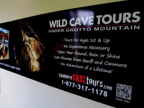 Signage for cave tour canmore