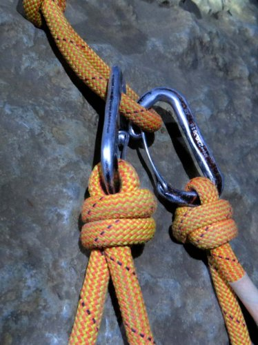 Cow's tail and carabiners for cave tour
