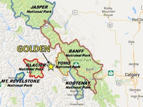 Map Golden National Parks