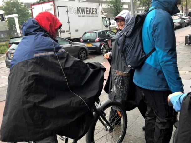 Cycling in Amsterdam rain