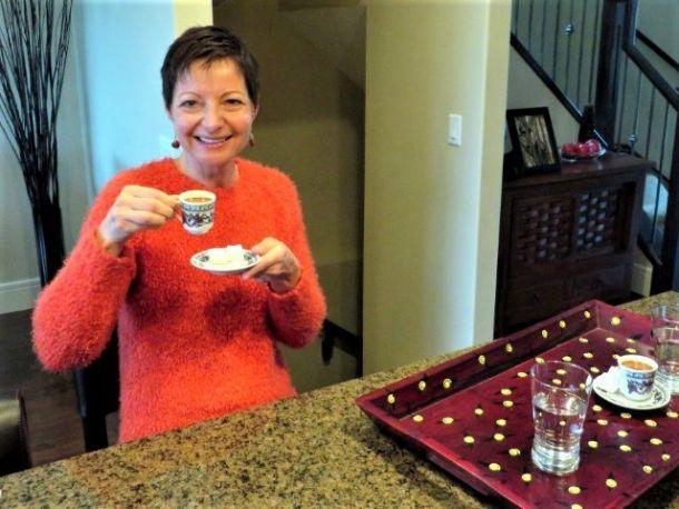 Drinking home made Turkish coffee