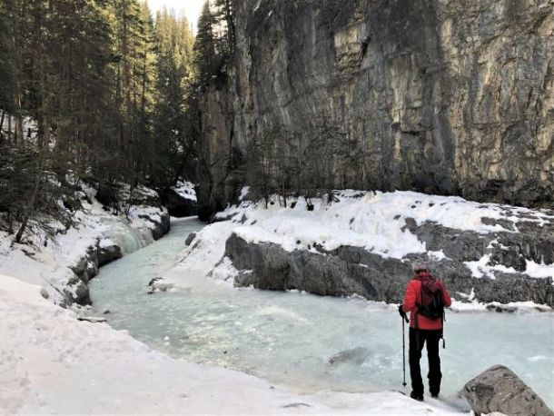 Hiking poles for Grotto Canyon Ice Walk