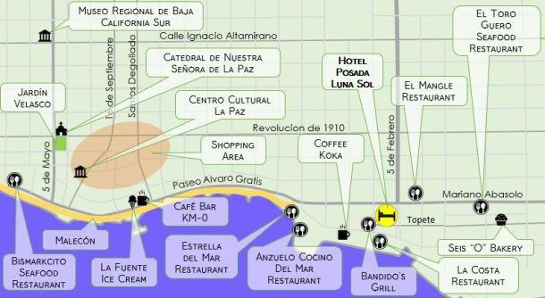 La Paz Map one week itinerary
