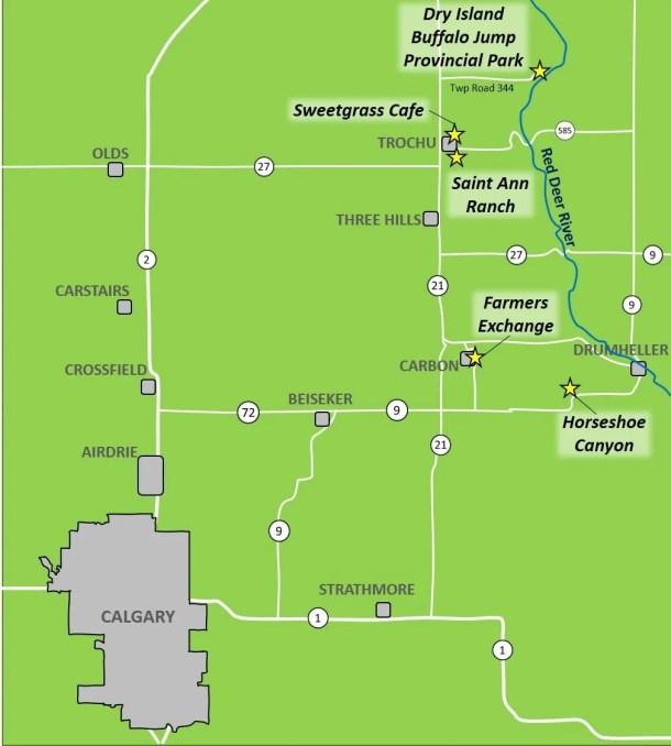 Northern Alberta Badlands Map