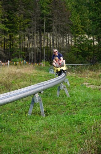 Parent child revelstoke mountain coaster