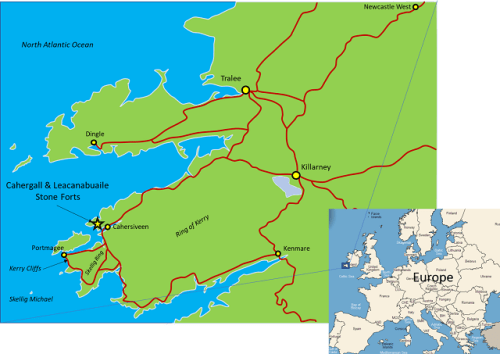 Map of County Kerry in southwest Ireland