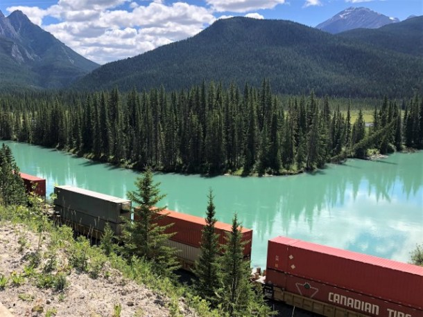 Train and turquoise waters Banff National Park
