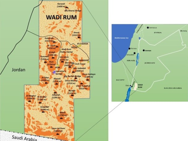 Wadi Rum Map, Jordan