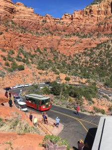 Sedona Trolley Arriving at The Chapel of the Holy Cross