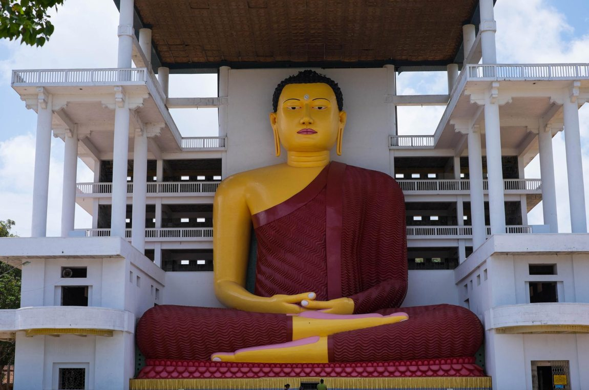 Giant Buddha at Weherahena Temple.