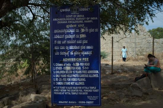Ticket entry prices for a sight in Hampi.