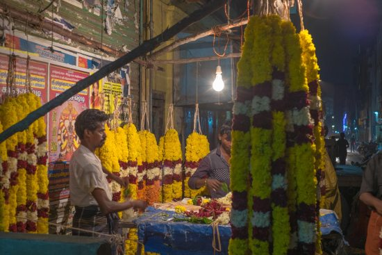 A stall holder in Chennai sells flowers during Diwali.