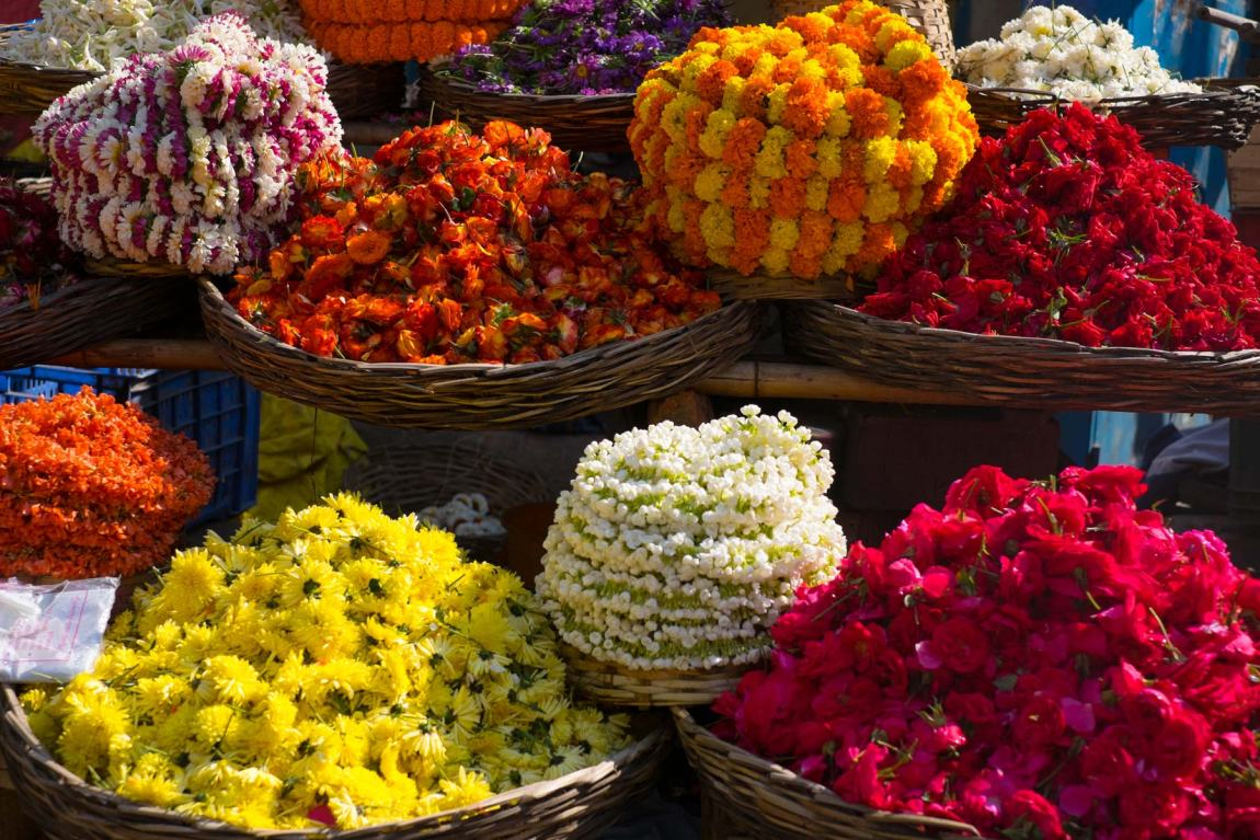 An explosion of colour on a flower stall in Hyderabad.