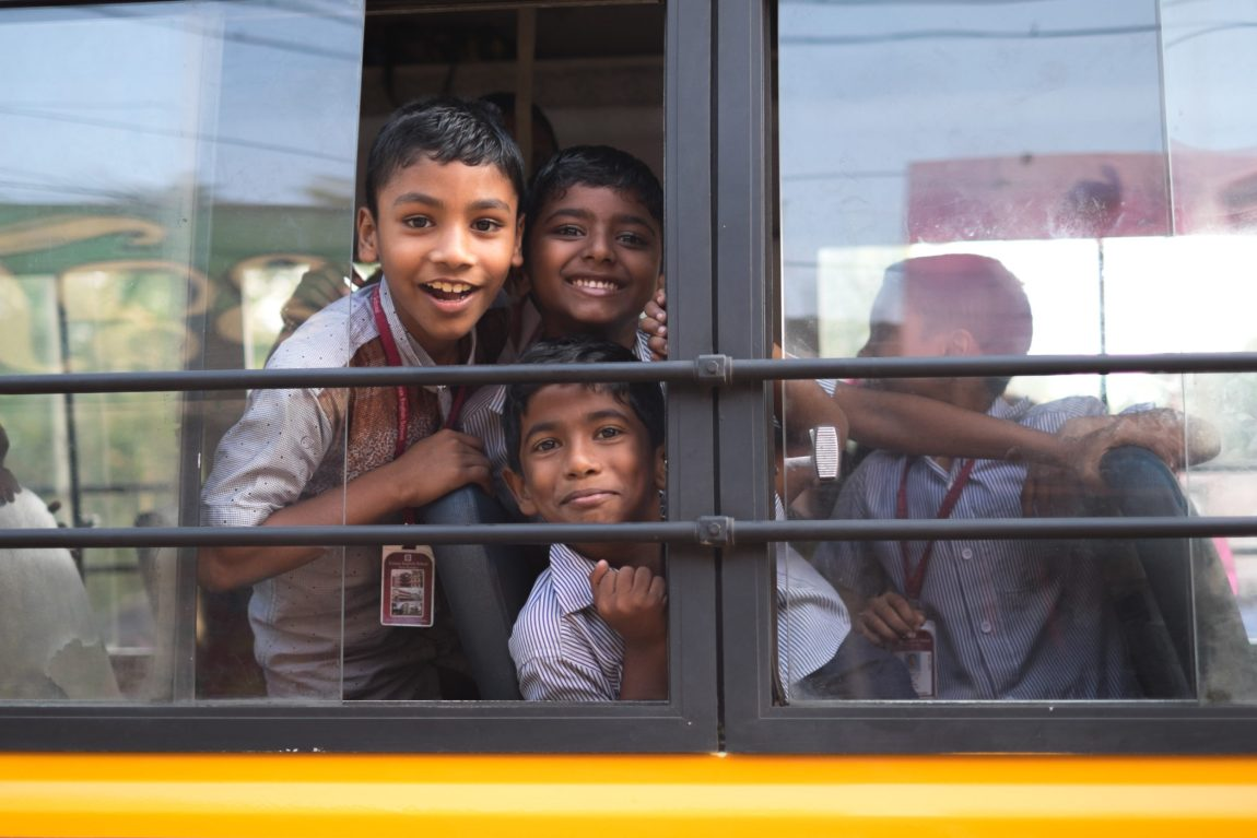 School boys on a bus in Alleppey.