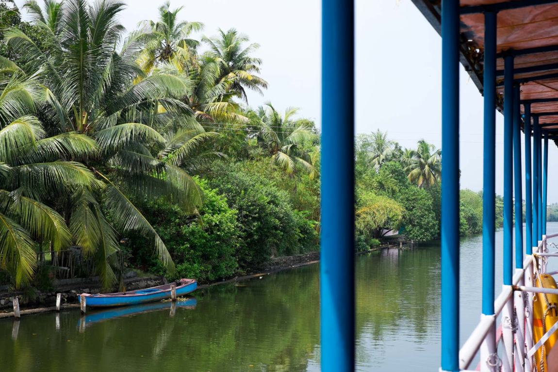Taking a boat from Kollam to Alleppey.