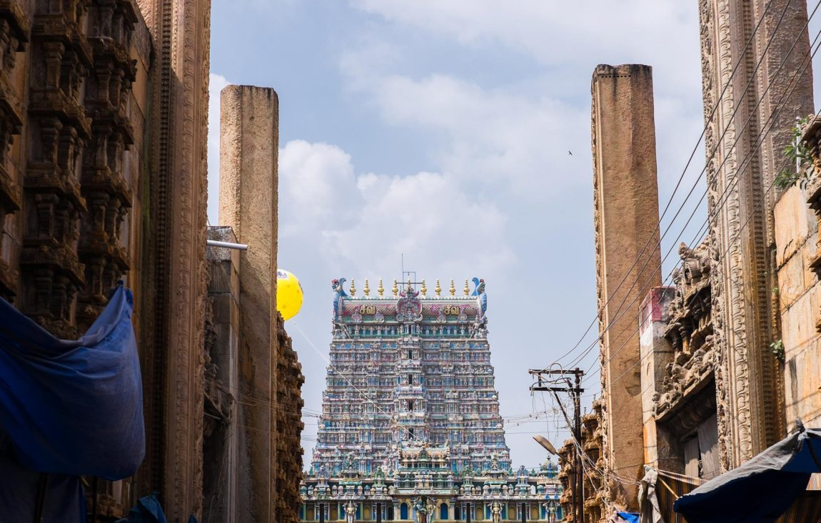 Meenakshi Amman Temple viewed from the streets of Madurai