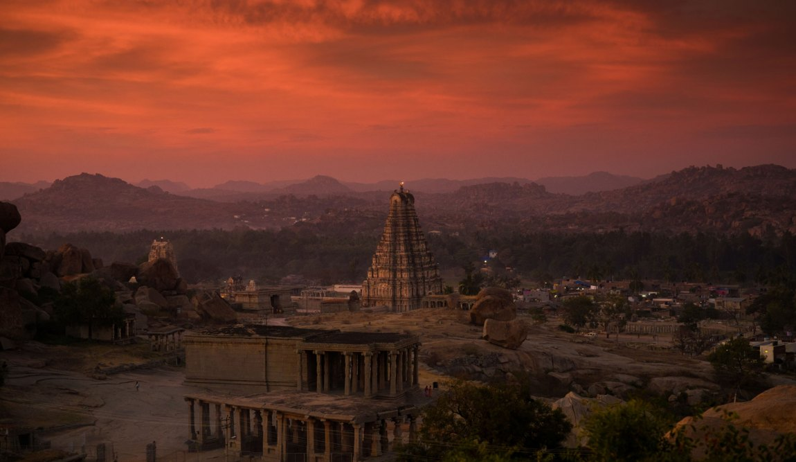 Sunset views over Hampi