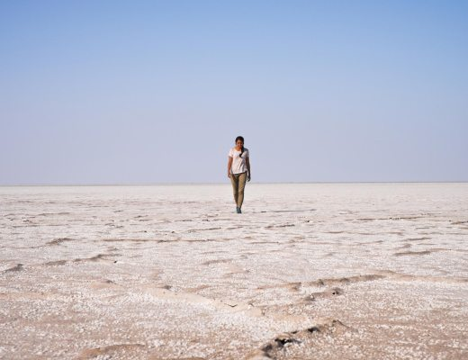 Walking through the Great Rann of Kutch salt desert