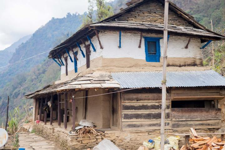 Traditional Nepalese stone and wood house