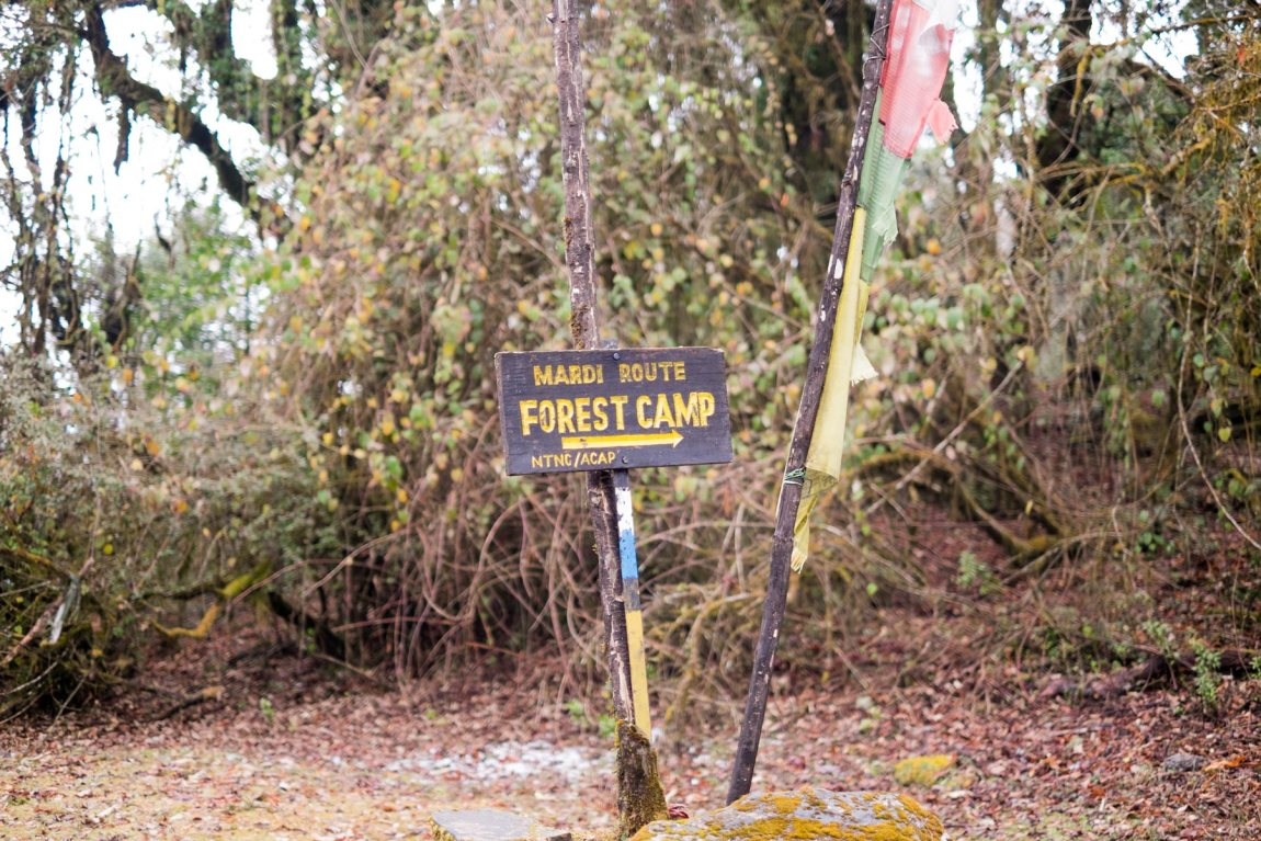 Sign for Forest Camp on the Mardi Himal trail