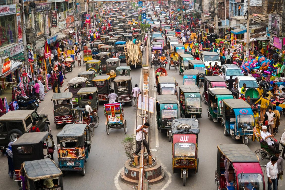 The busy streets of Rajshahi in Bangladesh.