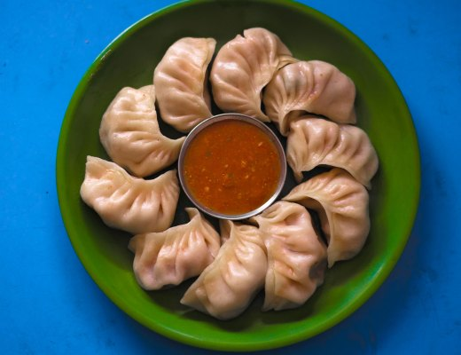 A plate of momos in Nepal.