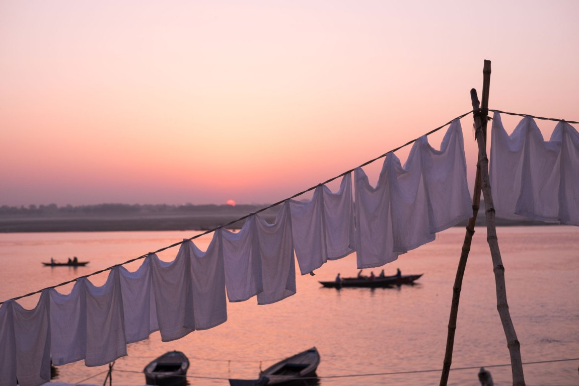 Pillowcases drying on the ghats of Varanasi