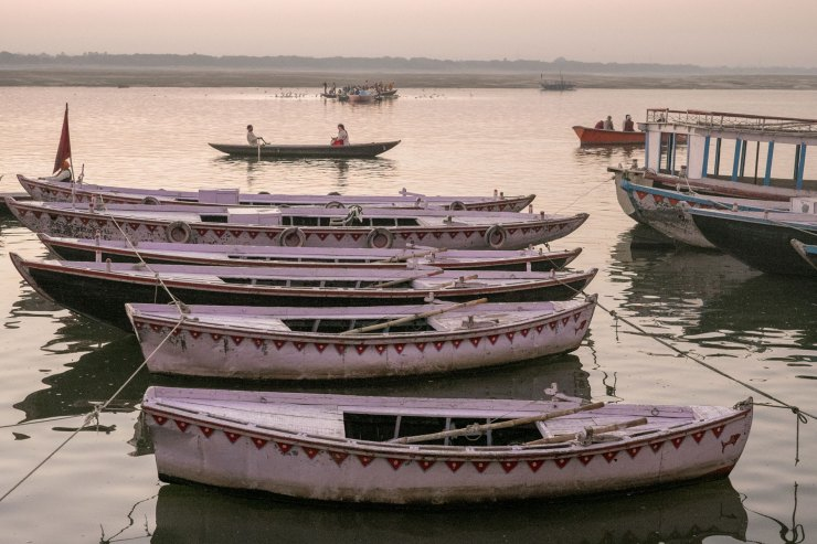 Boats lined up on the Ganges River in Varanasi.