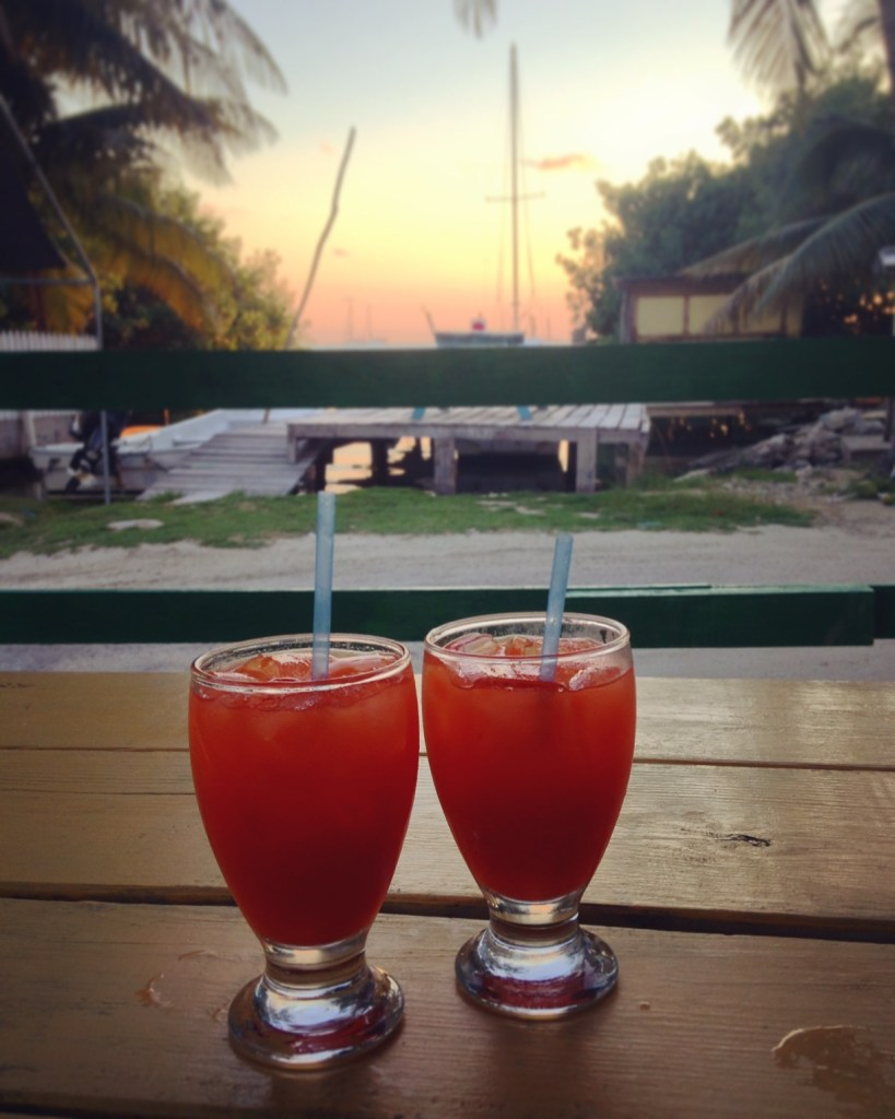 Caye Caulker, Belize sunset rum punches