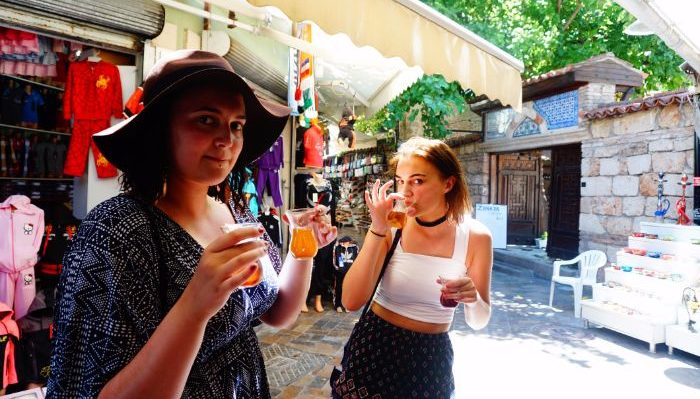 tea tasting in the old town of Antalya