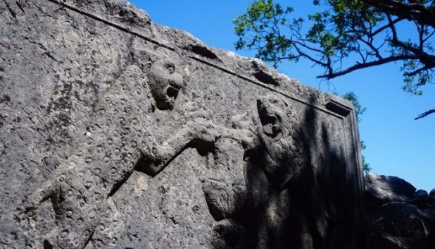 Decorations of lions fighting on the tombs of Termesso
