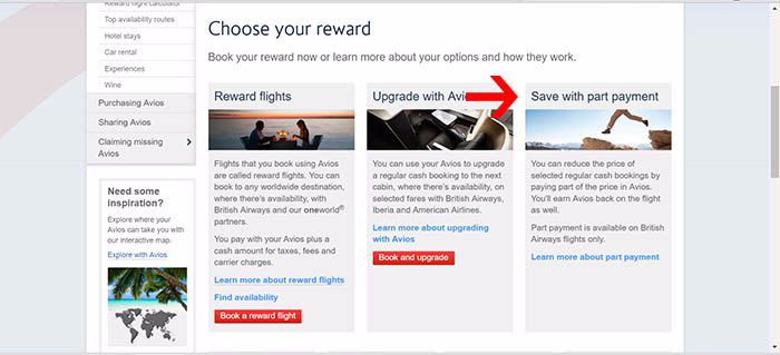 AVIOS redemptions using cash and AVIOS