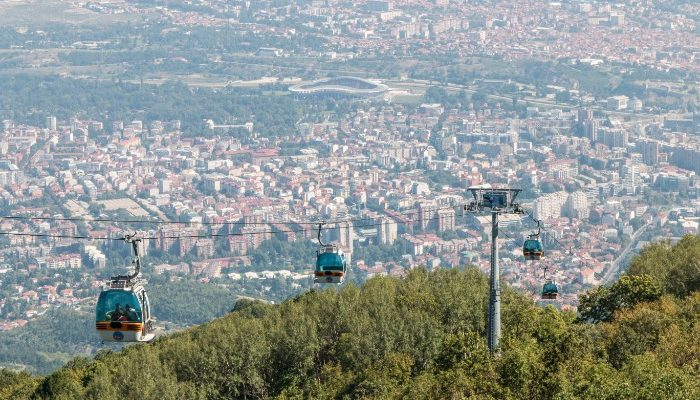 Cable cars on Mount Vodno, Skopje, Macedonia