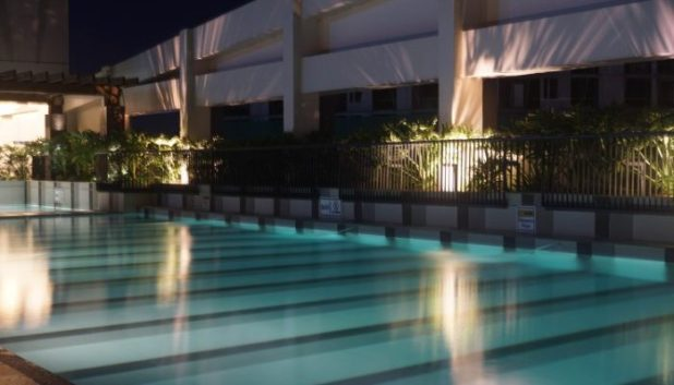 The gorgeous pool deck by night
