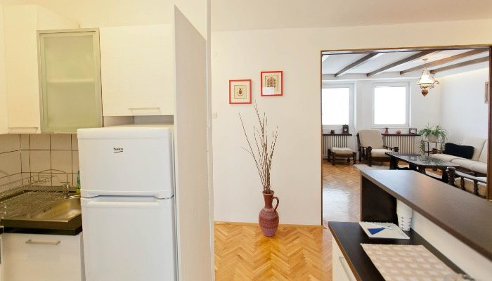 Kitchen and living room in Skopje apartment