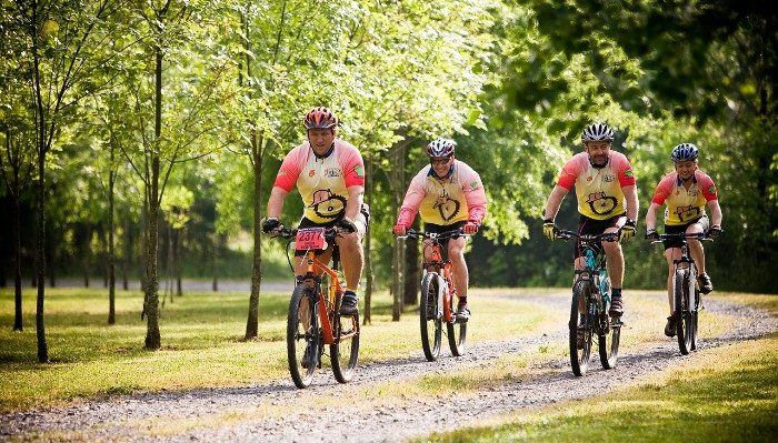 Group of friends on mountain bikes
