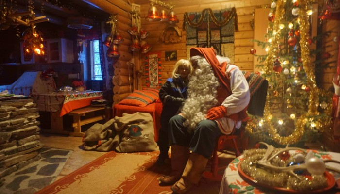 Visiting Santa in his cosy cottage
