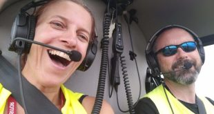 Flying in a helicopter