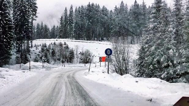 A snowy drive in Austria