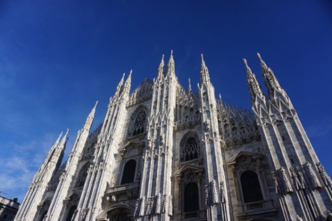 Views of Milan cathedral from below
