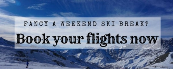 Adverts promoting flights to ski resorts