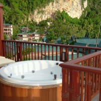 view of the hot tub on the balcony at the Centara, Krabi