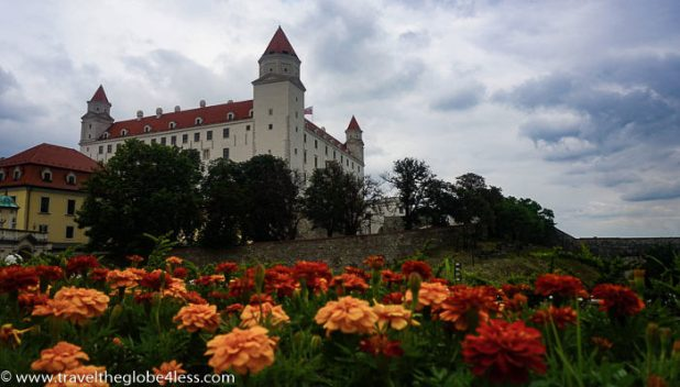 Bratislava castle and flowerbeds